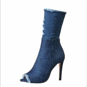 EGO Denim Distressed Stiletto Bootie Size 39